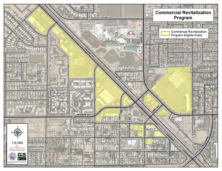 Commercial Revitalization Program Area Map in Peoria AZ