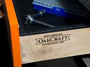 Oakcraft Logo on Cabinet Drawer